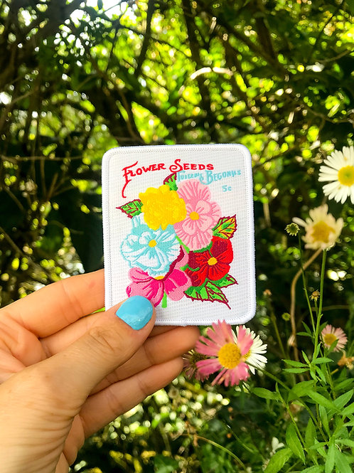 Flower Seed Packet Embroidery Patch