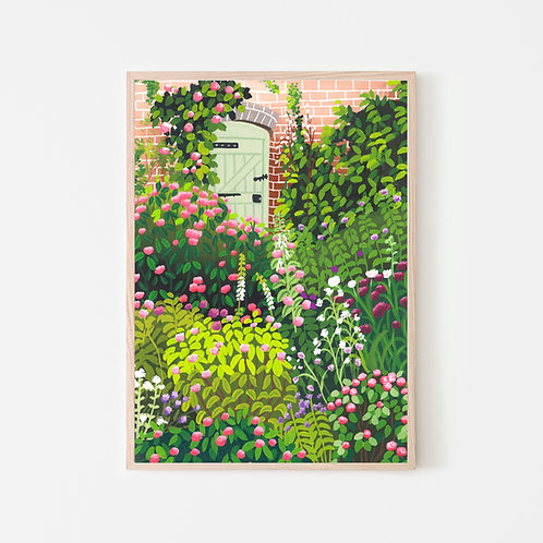 Rose Cottage Garden Art Print
