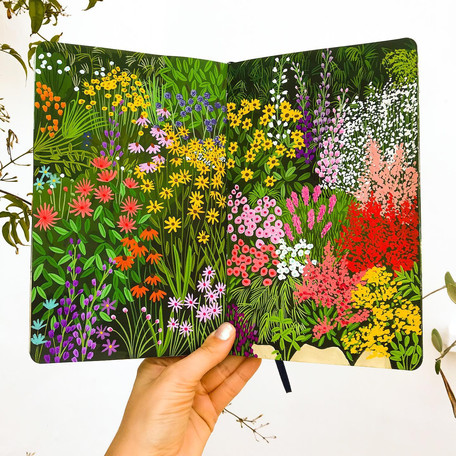 Colourful Floral Gardens Sketchbook Painting