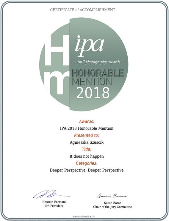Certyfikat wyróżnienia na International Photography Awards 2018