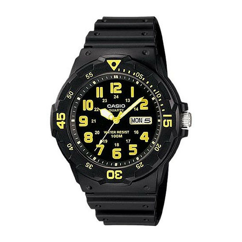 Casio Marine Men's Black Dial Resin Band Watch -Yellow