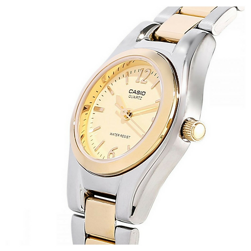 Casio Women's Yellow Dial Stainless Steel Band Watch