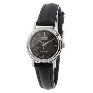 Casio Women's Black Dial Leather Band Watch