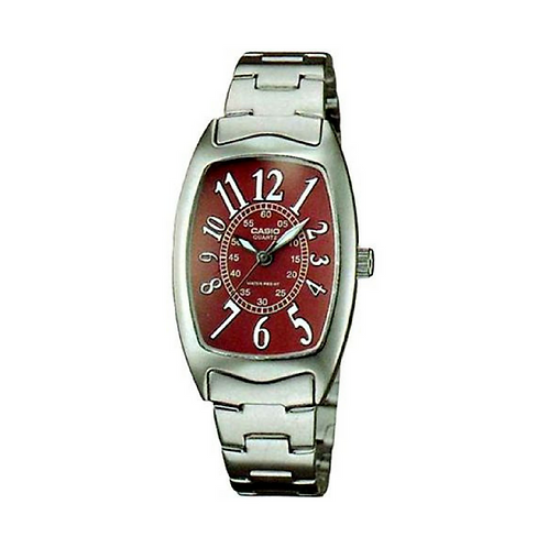 Casio Women's Red Dial Stainless Steel Band Watch