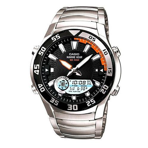 Casio Marine Gear Men's Black Ana-Digi Dial Stainless Steel Band Watch