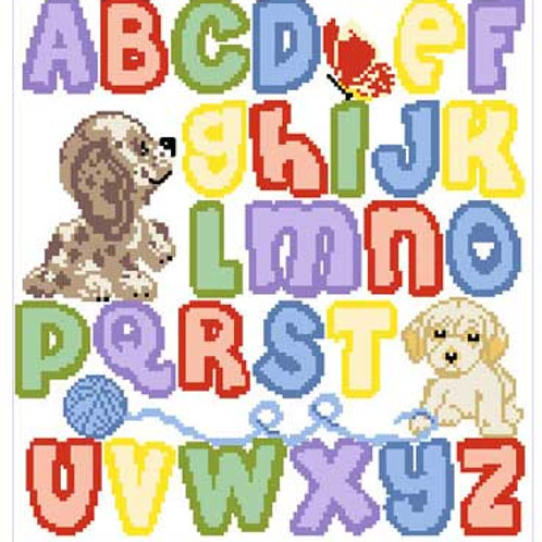 Playing Puppies Alphabet Sampler Pattern