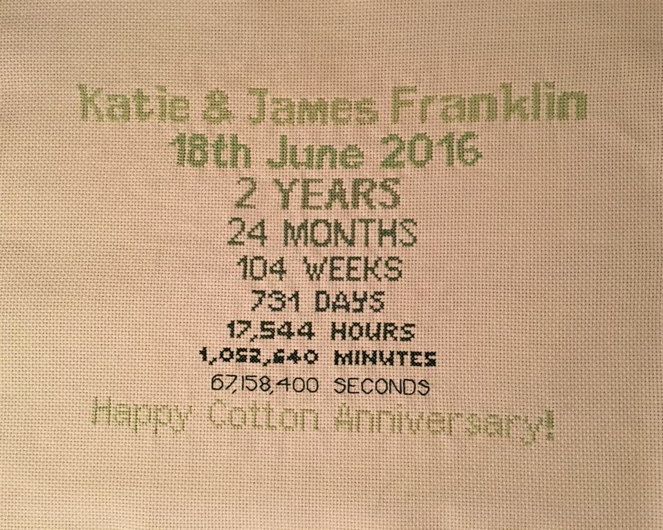 1st Wedding Anniversary Cross Stitch