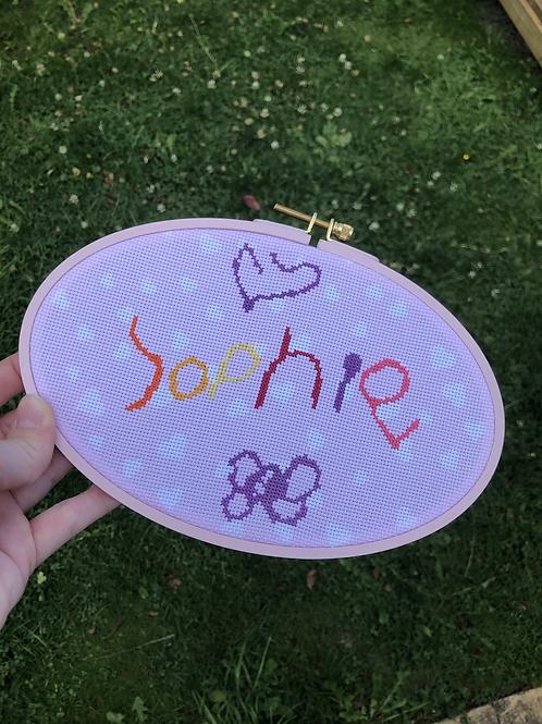 Custom child's name / drawing cross stitch kit.