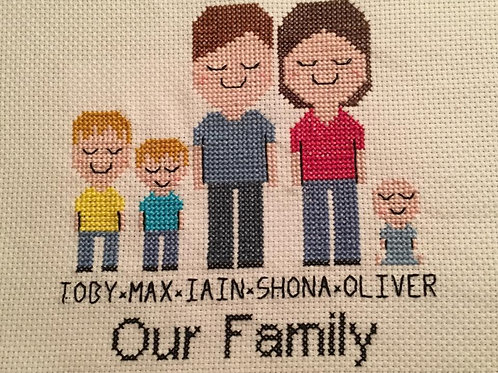 Family Cross Stitch Portrait