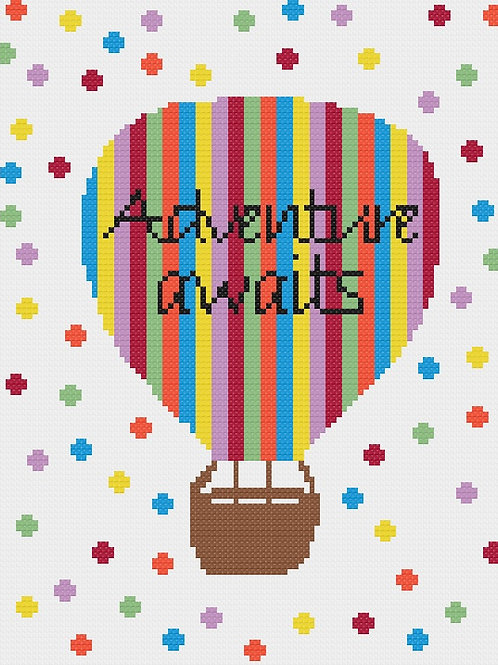 Adventure Awaits Cross Stitched Picture
