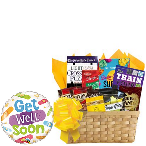 Ultimate Puzzle Books Basket with Get Well Balloon