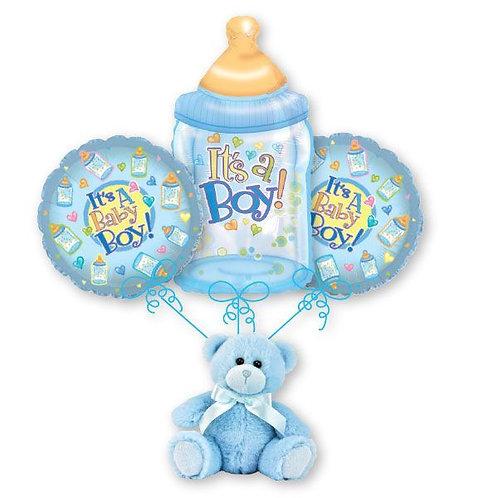 Baby Boy Balloon Bouquet - Baby Bottle