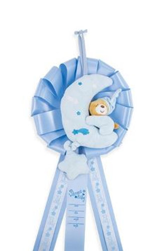 Birth Announcement Door Hanger - Musical Bear Boy (Plays Twinkle Twinkle Little