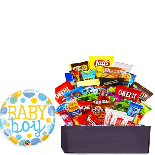 New Baby Boy Snacks Basket with Balloon