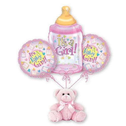 Baby Girl Balloon Bouquet - Baby Bottle