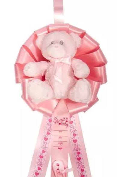 Birth Announcement Door Hanger Ribbon - It's a Girl Bear