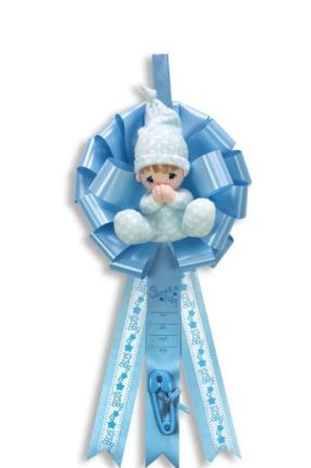 Birth Announcement Door Hanger Ribbon - Precious Moments Boy (With Sound)