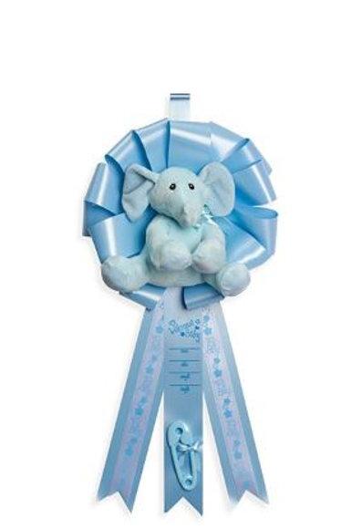 Birth Announcement Door Hanger Ribbon - It's a Boy Elephant