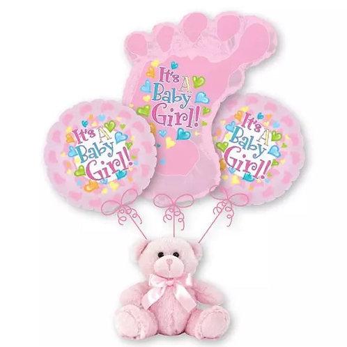 Baby Girl Balloon Bouquet - Footprint
