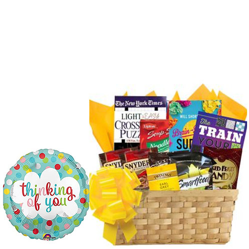 Ultimate Puzzle Books Basket with Thinking of You Balloon