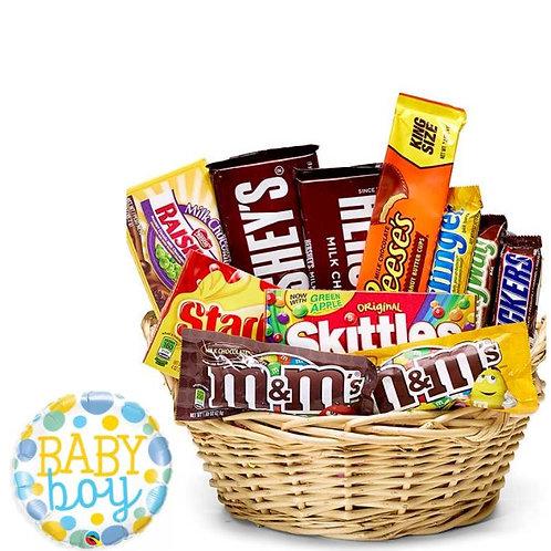 New Baby Boy Candy Gift Basket & Balloon