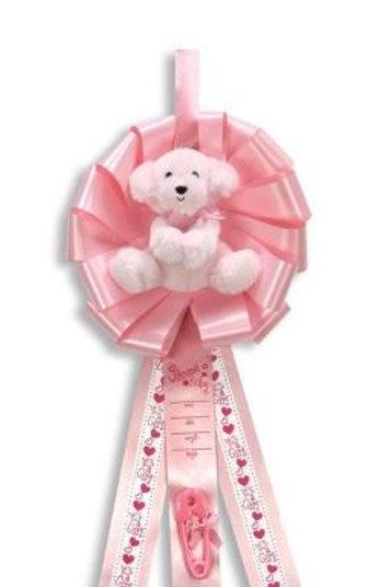 Birth Announcement Door Hanger Ribbon - It's a Girl Puppy