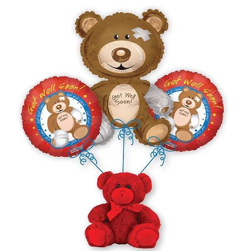 Get Well Bear Balloon Bouquet