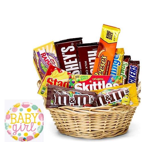 New Baby Girl Candy Basket & Balloon
