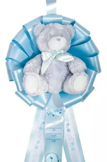Birth Announcement Door Hanger Ribbon - It's a Boy Bear