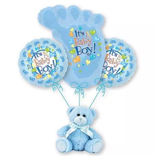 Baby Boy Balloon Bouquet - Footprint