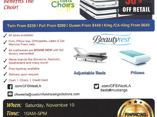 MCHS Choirs Mattress Fundraiser Is Coming Nov. 10th!