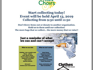 Please donate to the Choir Dept. Clothing and Shoe Drive - Sat., April 13th