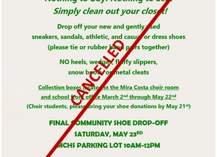 MCHS Choirs Spring Shoe Drive Cancelled