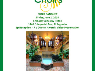 Save the Date for the Choir Year-End Banquet - Friday, June 1st!