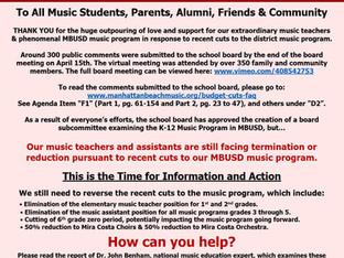 Music Program Advocacy Update - May 1, 2020