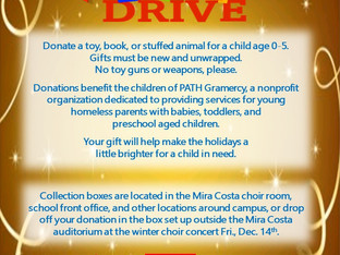 MCHS Choirs Annual Holiday Toy Drive