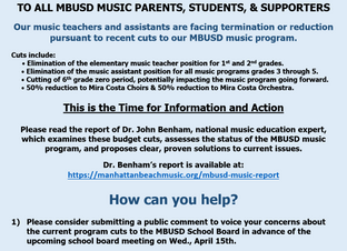 MBUSD Music Program Budget Cuts - Summary of Dr. Benham's Report & Next Steps