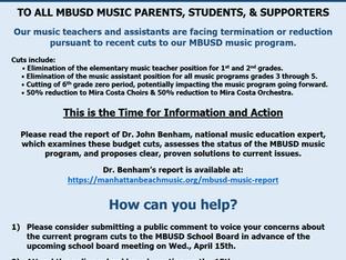 MBUSD Music Program Budget Cuts - Summary of Dr. Benham's Report & Next Steps