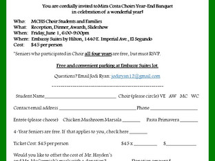 May 25th Deadline for Ordering Choir Banquet Tickets - Banquet Date is June 1