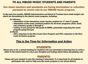 MBUSD Music Program Cuts - Student Letter