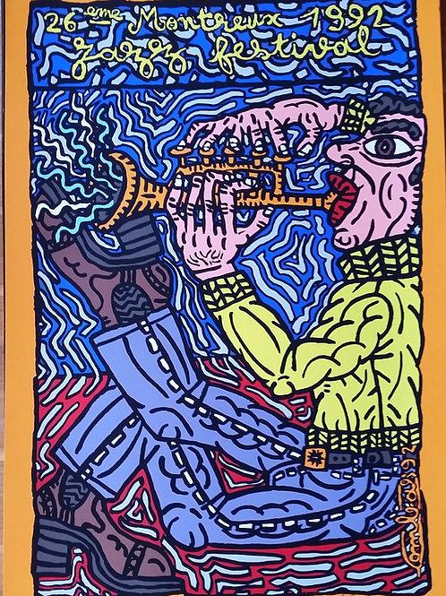 Robert Combas: affiche du Montreux Jazz, numérotée et signée par l'artiste