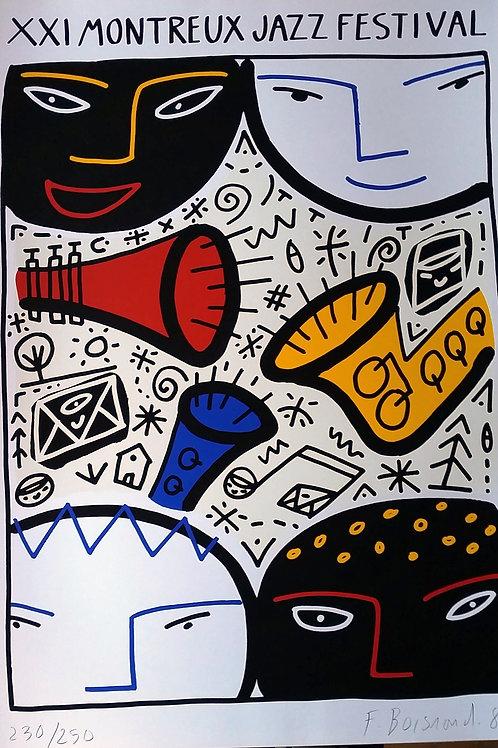 François Boisrond: affiche du Montreux Jazz, numérotée et signée par l'artiste