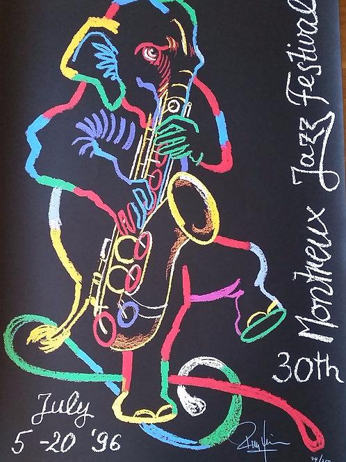 Rolf Knie: affiche du Montreux Jazz, numérotée et signée par l'artiste