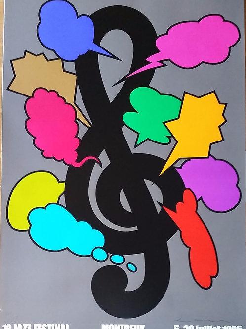 Shigeo Fukuda: affiche du Montreux Jazz, numérotée et signée par l'artiste