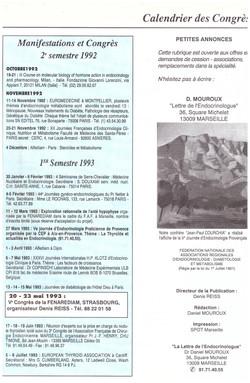 1992 CONGRES ENDOCRINO