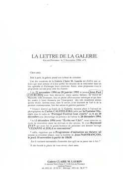 1995 LETTRE DE LA GALERIE AIX