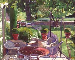 La table rouge à l'ombre
