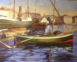 barque verte dans le port2