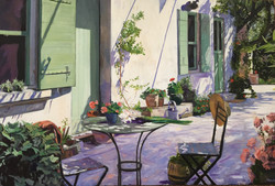 A terrace in the shade