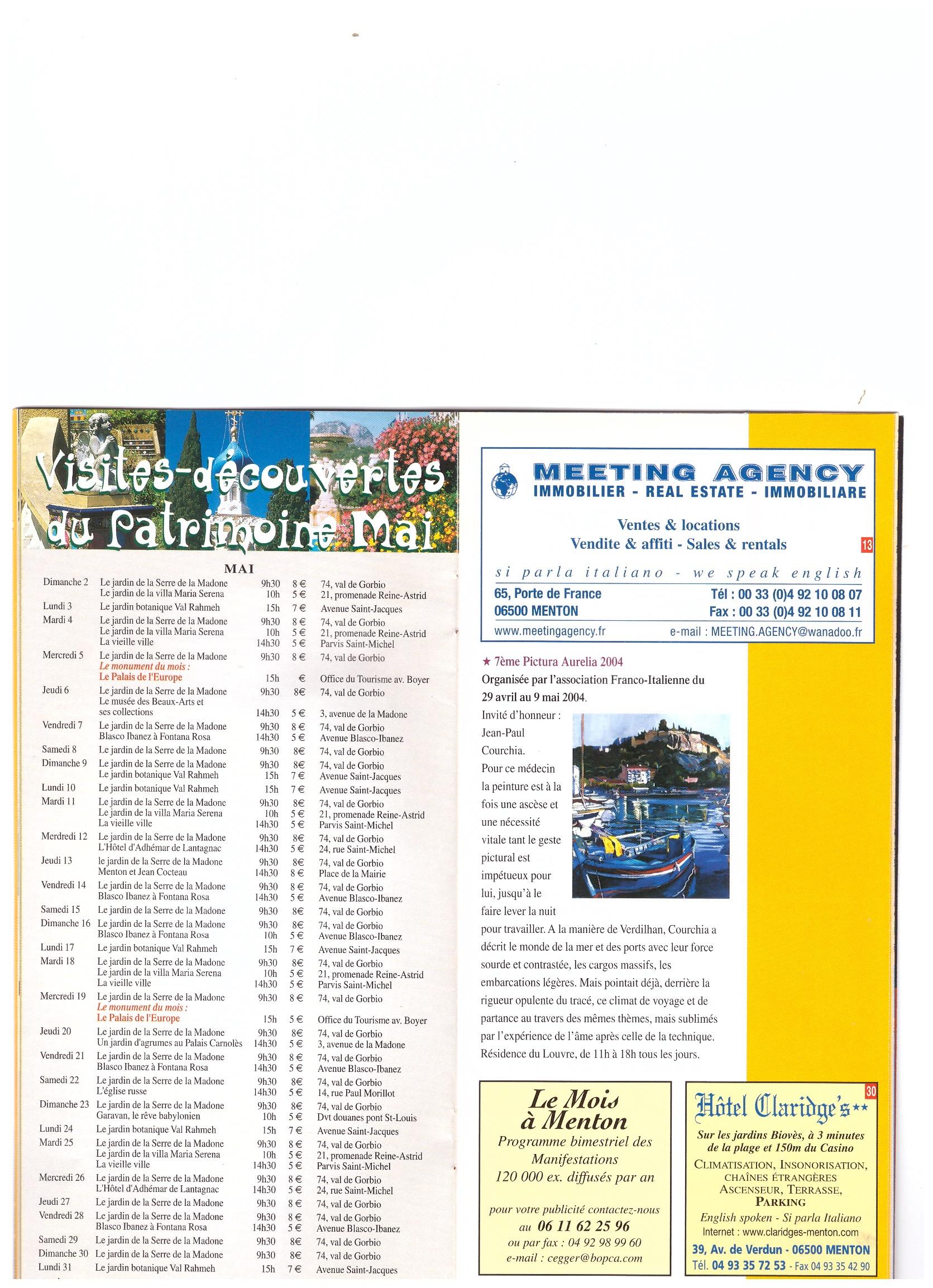 2004 PROGRAMME MANIFESTATION MENTON 2